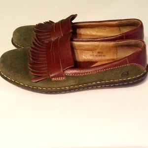 Born Leather & Green Suede Loafers - 9